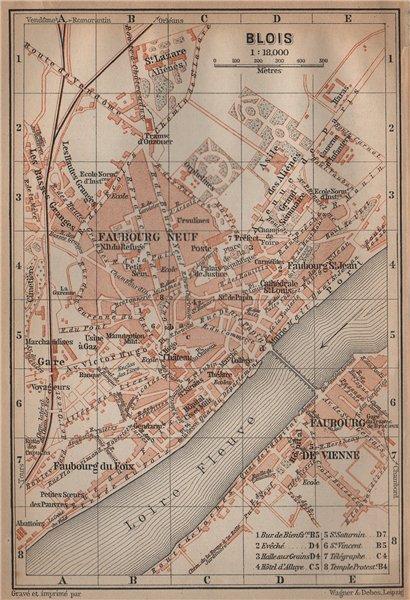 Associate Product BLOIS antique town city plan de la ville. Loir-et-Cher carte. BAEDEKER 1899 map