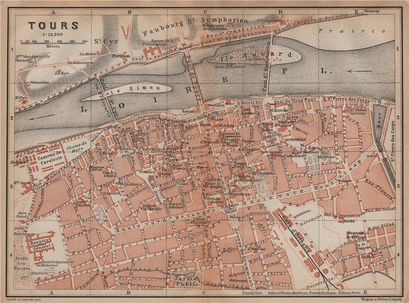 Associate Product TOURS antique town city plan de la ville. Indre-et-Loire carte 1899 old map