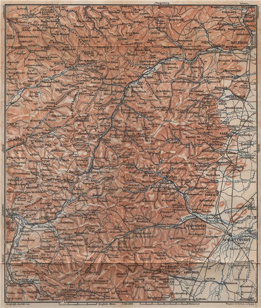 Associate Product CENTRAL VOSGES MASSIF. Selestat La Bruche Molsheim Bas-Rhin topo-map 1899