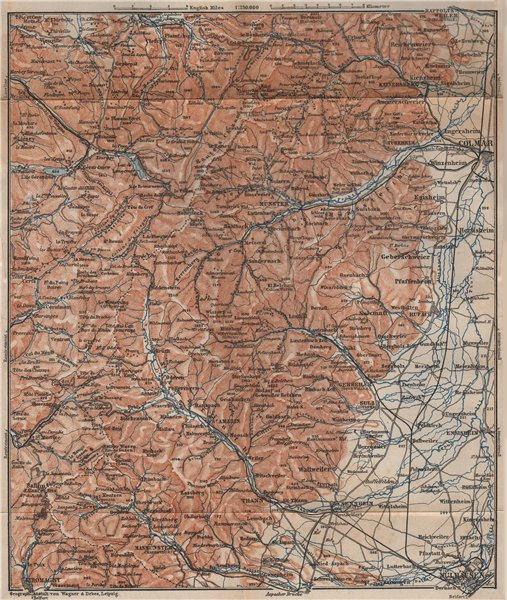 Associate Product SOUTHERN VOSGES MASSIF. Colmar Mulhouse Lac Blanc Gérardmer La Bresse 1899 map