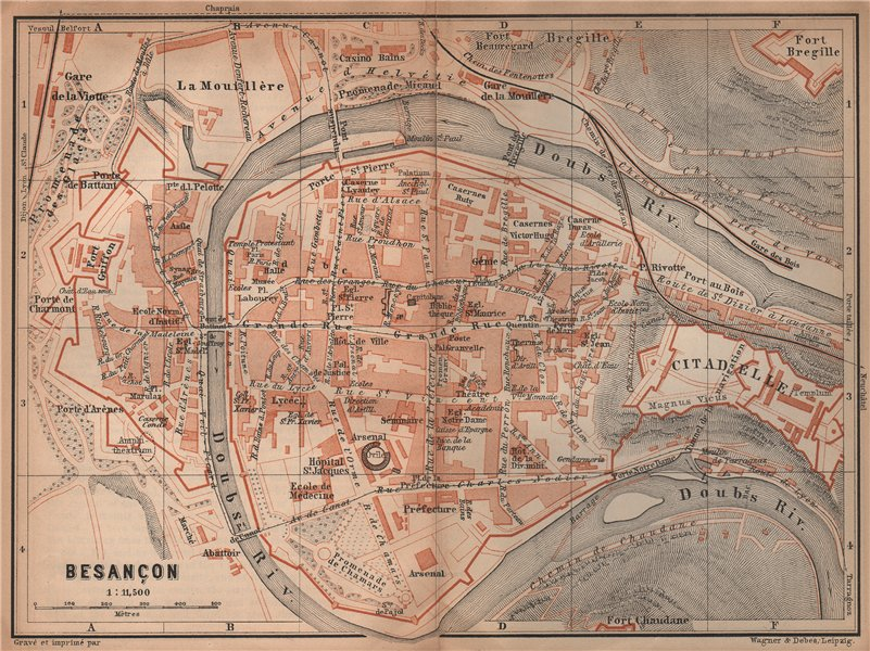 Associate Product BESANÇON antique town city plan de la ville. Doubs carte. BAEDEKER 1899 map