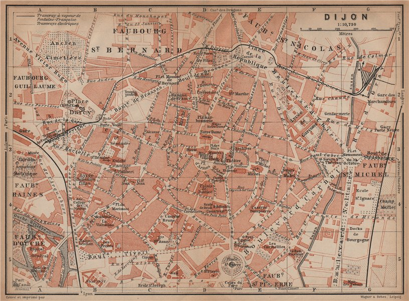 Associate Product DIJON antique town city plan de la ville. Côte-d'Or. Bourgogne carte 1899 map