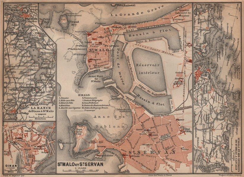 Associate Product LA RANCE. ST MALO, ST SERVAN & DINAN town city plans. Ille-et-Vilaine 1899 map