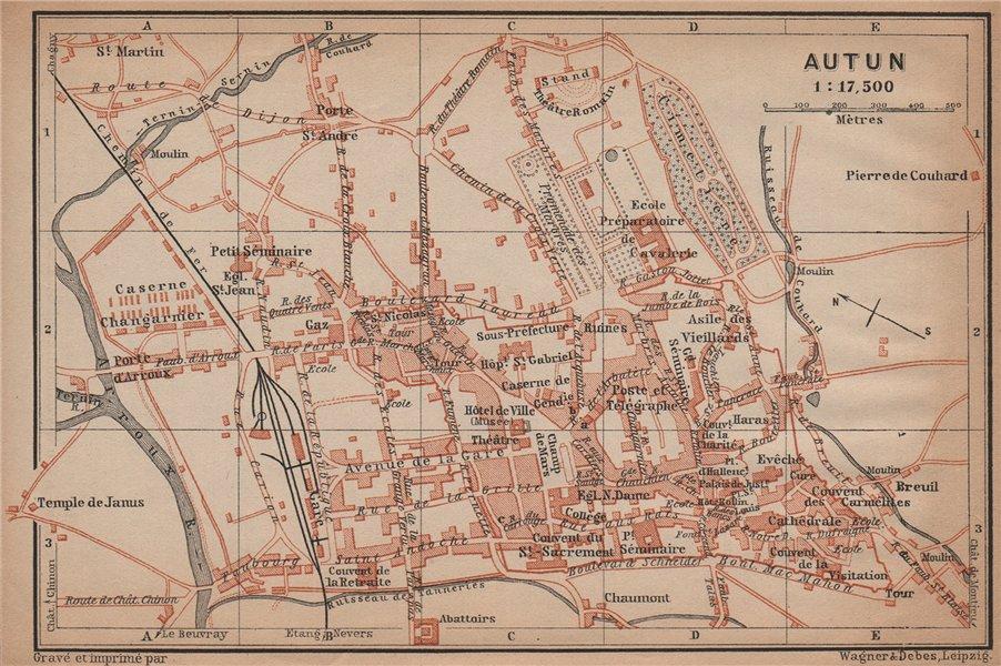 Associate Product AUTUN antique town city plan de la ville. Saône-et-Loire carte 1899 old map