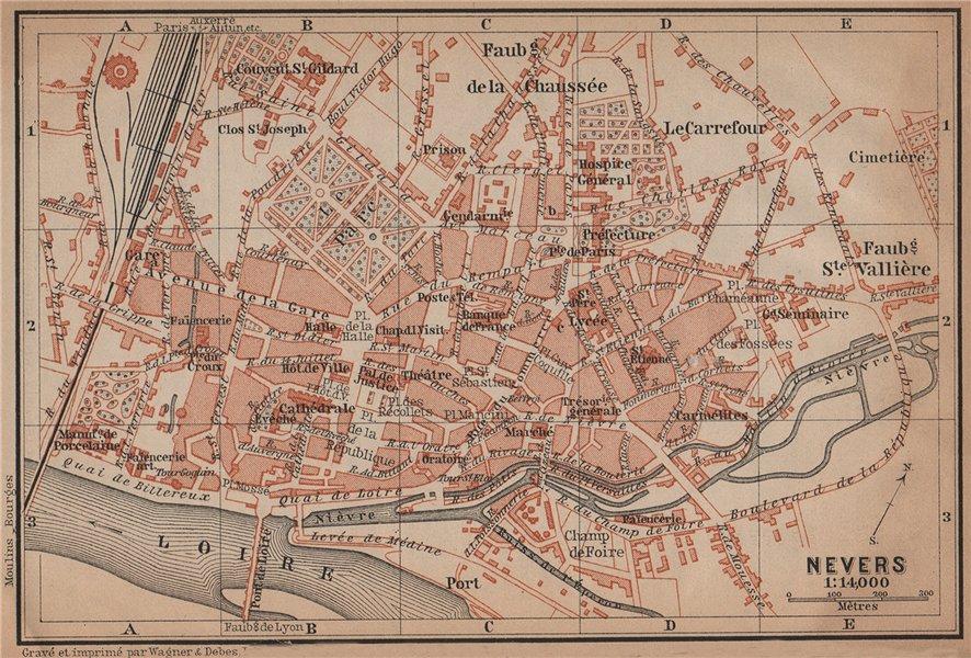 NEVERS antique town city plan de la ville. Nièvre carte. BAEDEKER 1899 old map