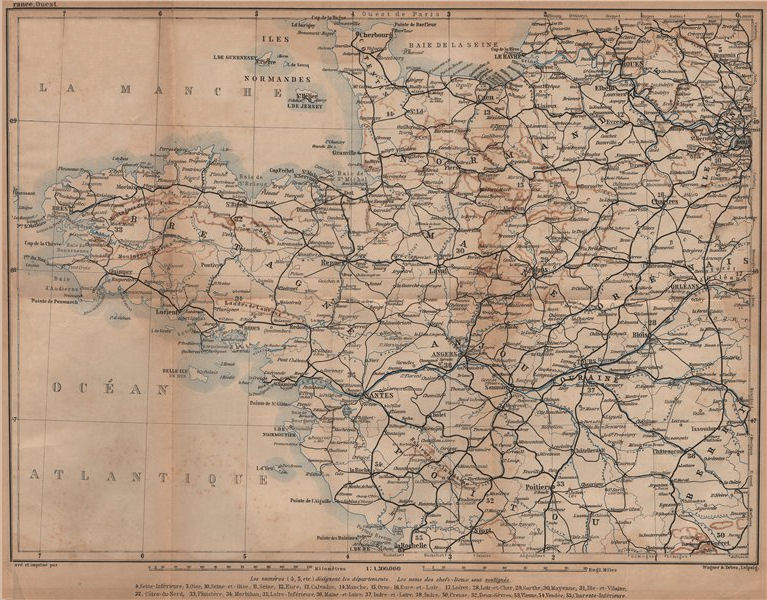 Associate Product NORTH-WESTERN FRANCE. Bretagne Maine Normandie Poitou Anjou Touraine 1899 map