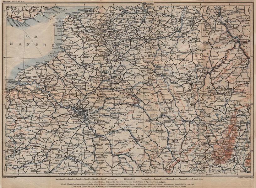 Associate Product NORTH-EASTERN FRANCE. Normandie Picardie Champagne Artois Lorraine 1905 map