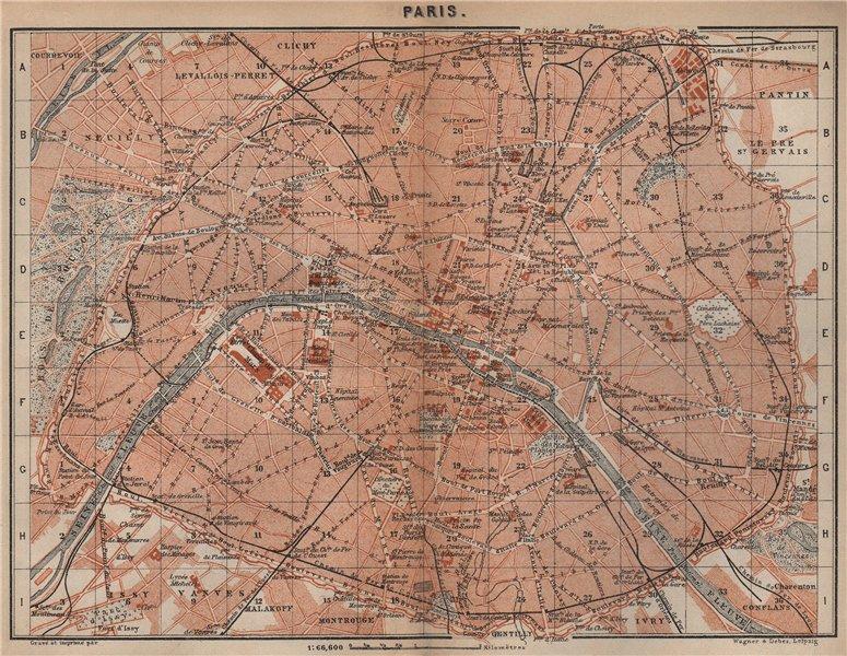 Associate Product PARIS town city plan de la ville showing city walls. Railways carte 1905 map