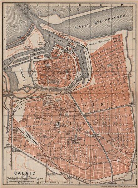 Associate Product CALAIS antique town city plan de la ville. Pas-de-Calais carte 1905 old map