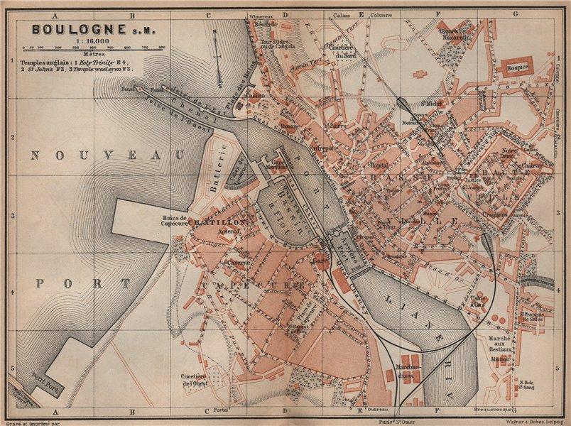 Associate Product BOULOGNE-SUR-MER town city plan de la ville. Pas-de-Calais carte 1905 old map