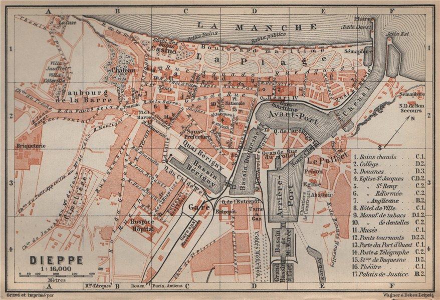 Associate Product DIEPPE antique town city plan de la ville. Seine-Maritime carte 1905 old map