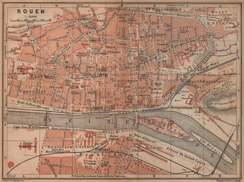 Associate Product ROUEN antique town city plan de la ville. Seine-Maritime carte 1905 old map