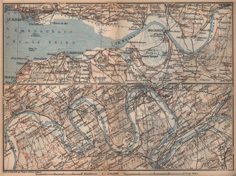 Associate Product LA SEINE. Pont de l'Arche-Rouen-Honfluer-Le Havre. Eure Seine-Maritime 1905 map