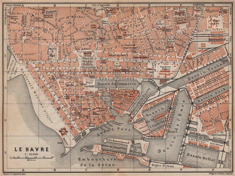 Associate Product LE HAVRE antique town city plan de la ville. Seine-Maritime carte 1905 old map