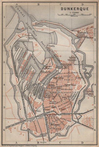 Associate Product DUNKIRK DUNKERQUE antique town city plan de la ville. Nord carte 1905 old map