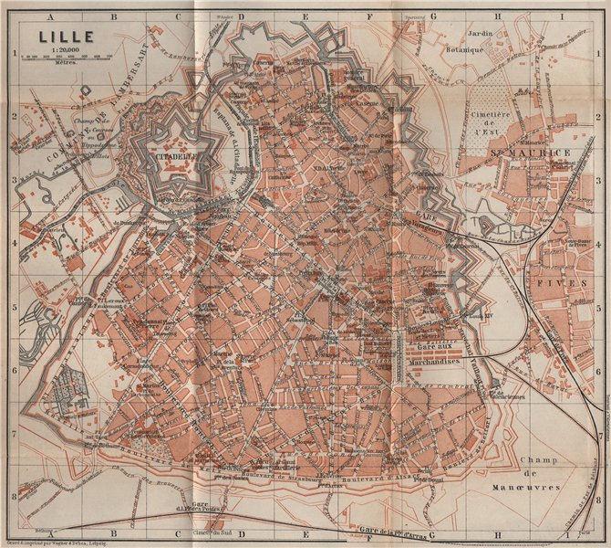 Associate Product LILLE antique town city plan de la ville. Nord carte. BAEDEKER 1905 old map