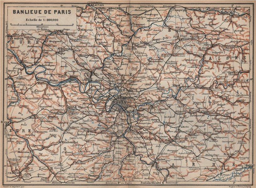 Associate Product ÎLE-DE-FRANCE. Paris environs. Seine Oise Eure Loir Aisne carte 1905 old map