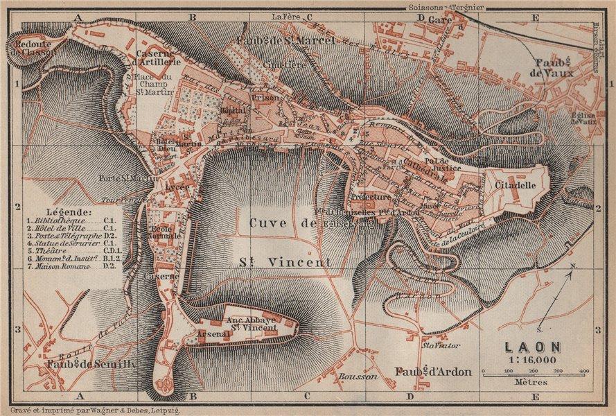 Associate Product LAON antique town city plan de la ville. Aisne carte. BAEDEKER 1905 old map