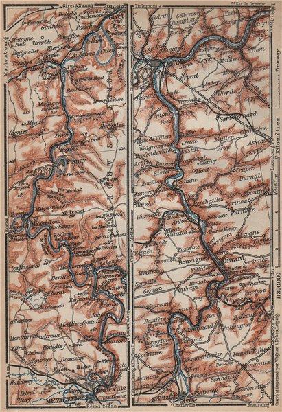 Associate Product MEUSE/MAAS river valley. Charleville-Mézières Namur Dinant carte 1905 old map