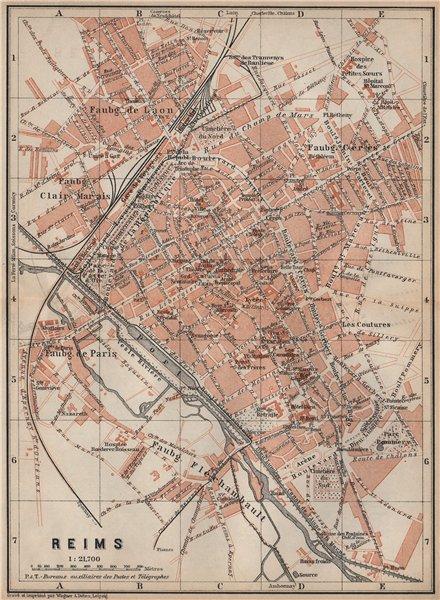 Associate Product REIMS antique town city plan de la ville. Marne carte. BAEDEKER 1905 old map