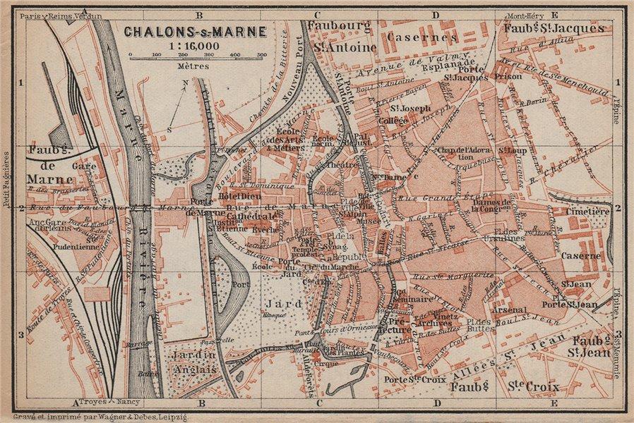 Associate Product CHALONS-EN-CHAMPAGNE town city plan de la ville. Châlons-sur-Marne 1905 map