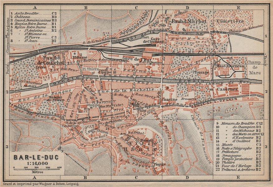 Associate Product BAR-LE-DUC antique town city plan de la ville. Meuse carte. BAEDEKER 1905 map
