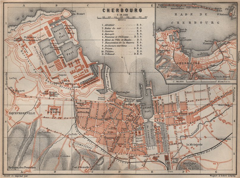 Associate Product CHERBOURG town city plan de la ville. Manche. Rade de Cherbourg carte 1905 map