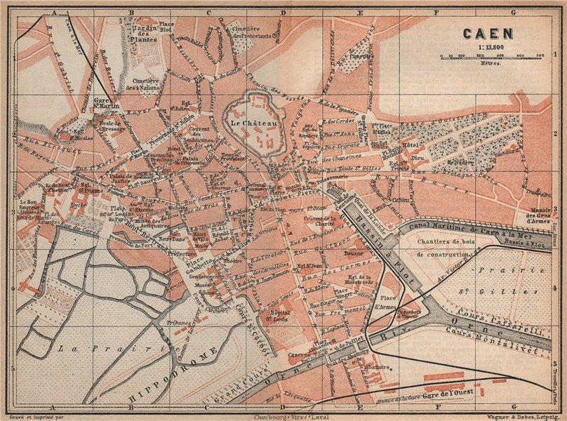 Associate Product CAEN antique town city plan de la ville. Calvados carte. BAEDEKER 1905 old map