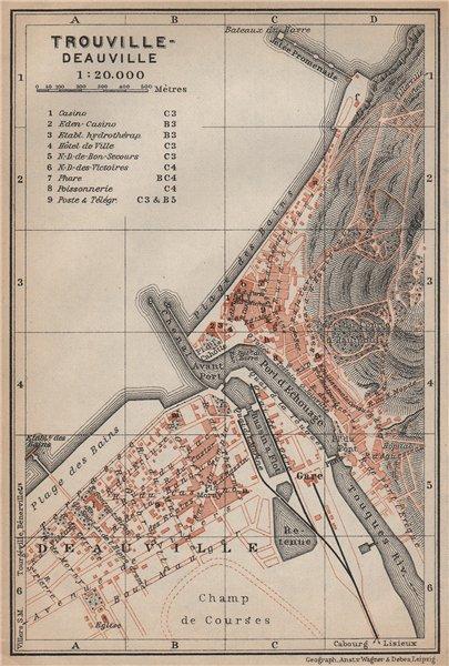 Associate Product TROUVILLE-DEAUVILLE antique town city plan de la ville. Calvados carte 1905 map