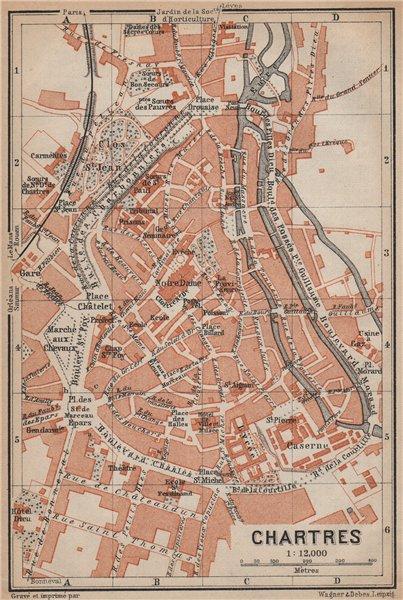 Associate Product CHARTRES antique town city plan de la ville. Eure-et-Loir carte 1905 old map