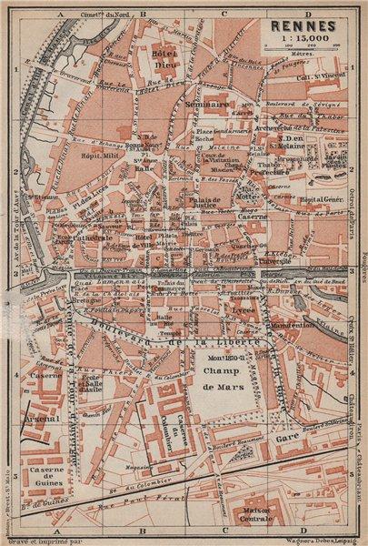 RENNES antique town city plan de la ville. Ille-et-Vilaine carte 1905 old map