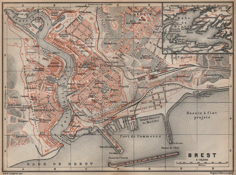 Associate Product BREST town city plan de la ville. Finistère. Rade de Brest carte 1905 old map
