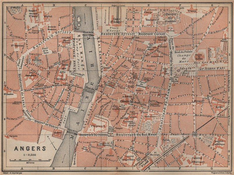 Associate Product ANGERS antique town city plan de la ville. Maine-et-Loire carte 1905 old map