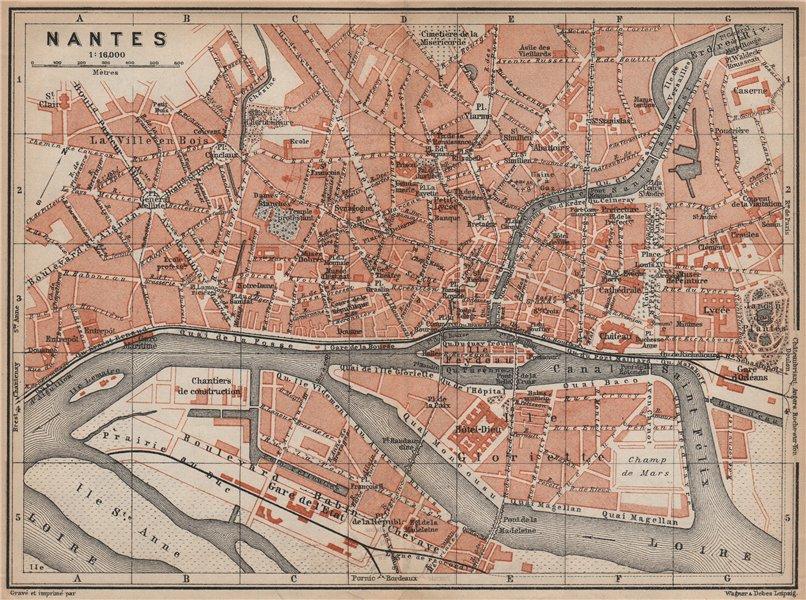 Associate Product NANTES antique town city plan de la ville. Loire-Atlantique carte 1905 old map