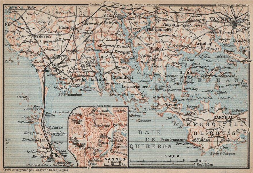 Associate Product CÔTE DES MEGALITHES. Vannes Baie de Quiberon Morbihan Auray Sarzeau 1905 map