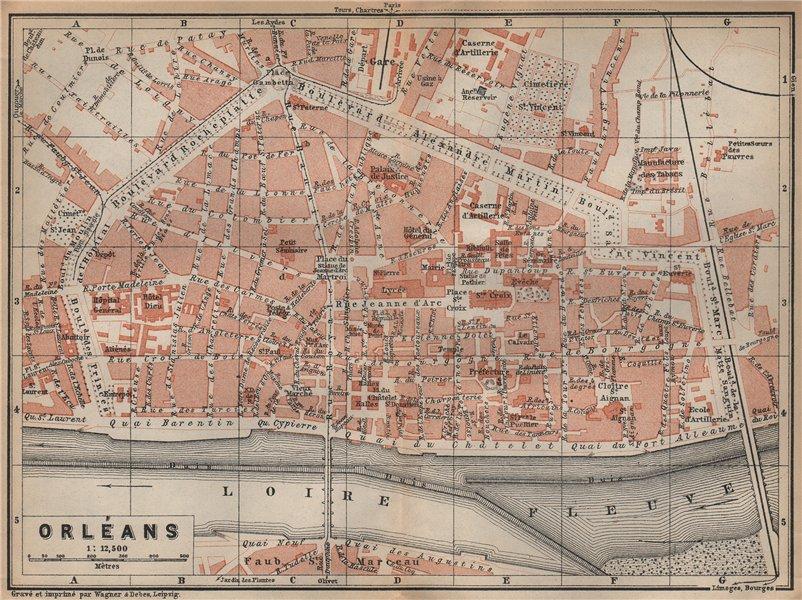 Associate Product ORLÉANS antique town city plan de la ville. Loiret. Orleans carte 1905 old map