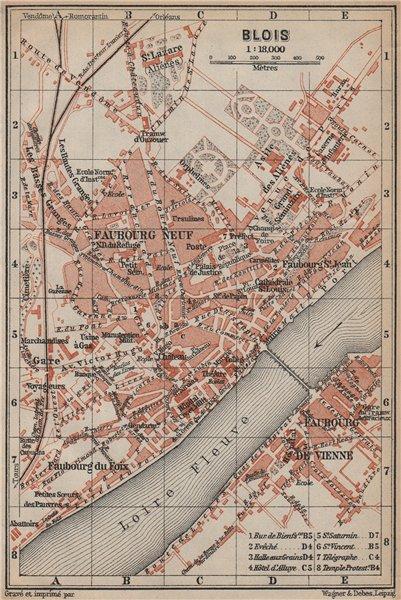 Associate Product BLOIS antique town city plan de la ville. Loir-et-Cher carte. BAEDEKER 1905 map