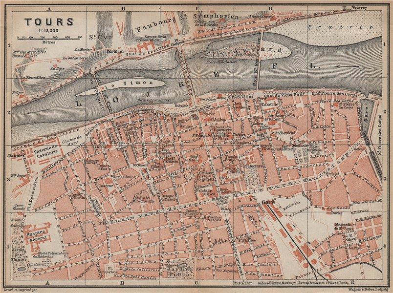 Associate Product TOURS antique town city plan de la ville. Indre-et-Loire carte 1905 old map