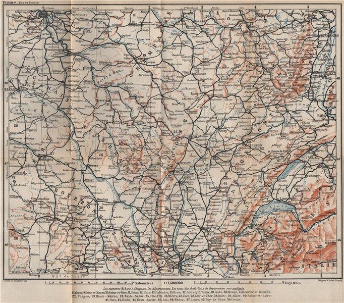 Associate Product EASTERN FRANCE Bourbonnais Nivernais Champagne Bourgogne Franche-Comté 1905 map
