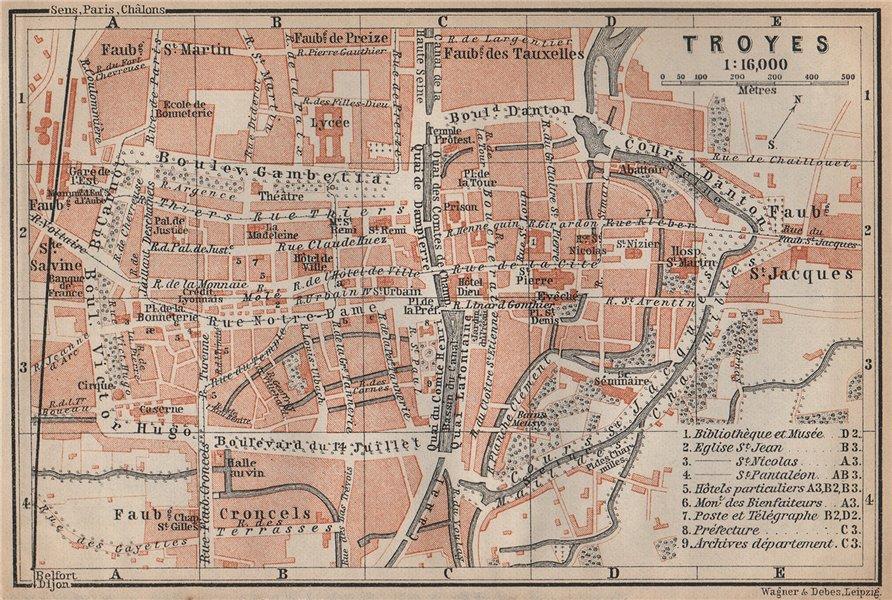 Associate Product TROYES antique town city plan de la ville. Aube carte. BAEDEKER 1905 old map