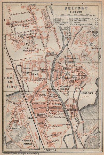 Associate Product BELFORT town city plan de la ville. Territoire de Belfort carte 1905 old map