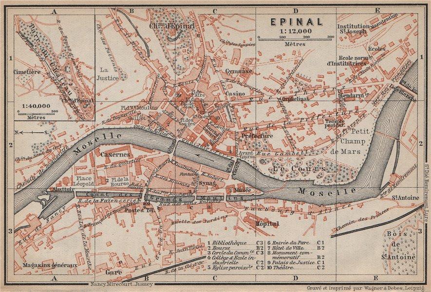 Associate Product EPINAL antique town city plan de la ville. Vosges. Épinal carte 1905 old map