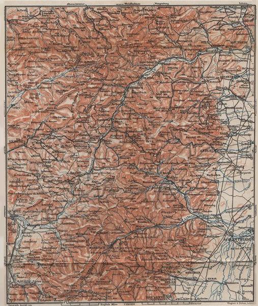 Associate Product CENTRAL VOSGES MASSIF. Selestat La Bruche Molsheim Bas-Rhin topo-map 1905