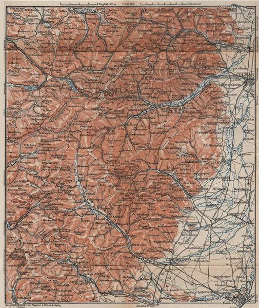Associate Product SOUTHERN VOSGES MASSIF. Colmar Mulhouse Lac Blanc Gérardmer La Bresse 1905 map