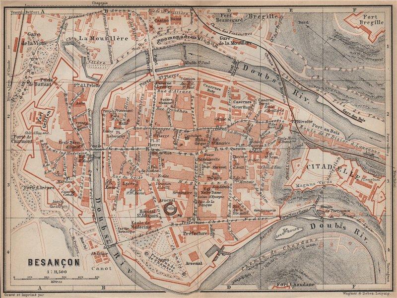 Associate Product BESANÇON antique town city plan de la ville. Doubs carte. BAEDEKER 1905 map