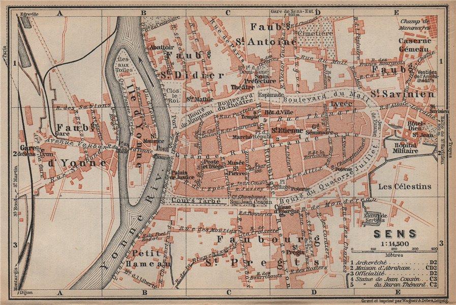 Associate Product SENS antique town city plan de la ville. Yonne carte. BAEDEKER 1905 old map