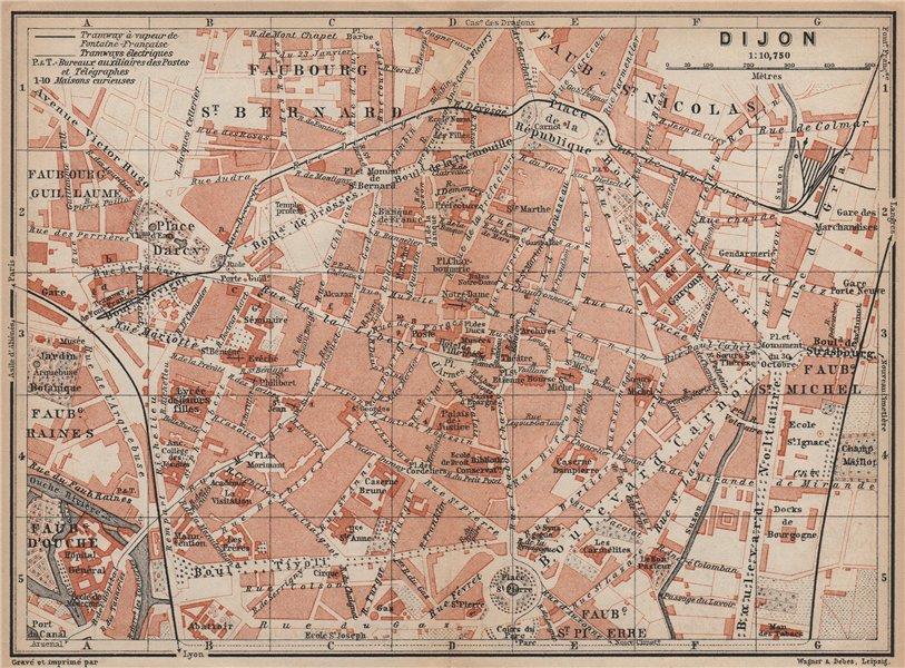 Associate Product DIJON antique town city plan de la ville. Côte-d'Or. Bourgogne carte 1905 map