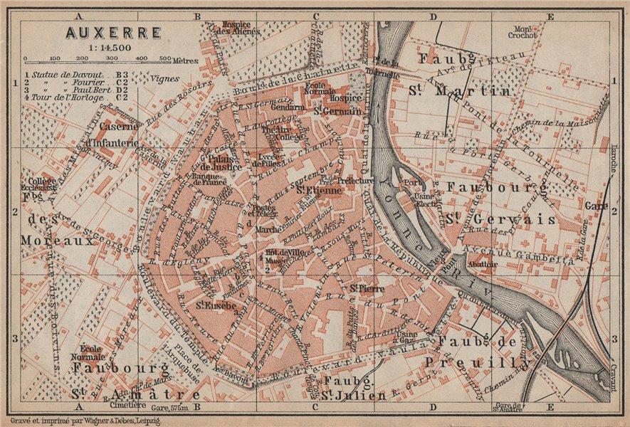 Associate Product AUXERRE antique town city plan de la ville. Yonne carte. BAEDEKER 1905 old map