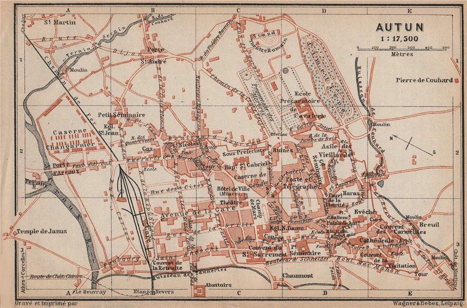 Associate Product AUTUN antique town city plan de la ville. Saône-et-Loire carte 1905 old map