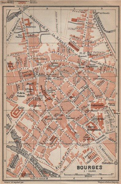 Associate Product BOURGES antique town city plan de la ville. Cher carte. BAEDEKER 1905 old map